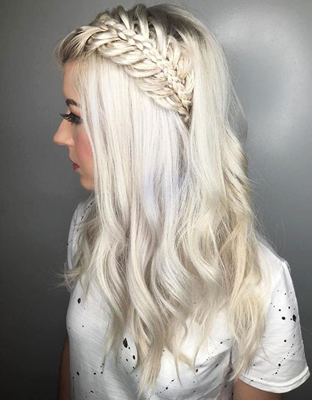 Blonde, Platinum, Long, Braided, Braid, Up, Half, Balayage
