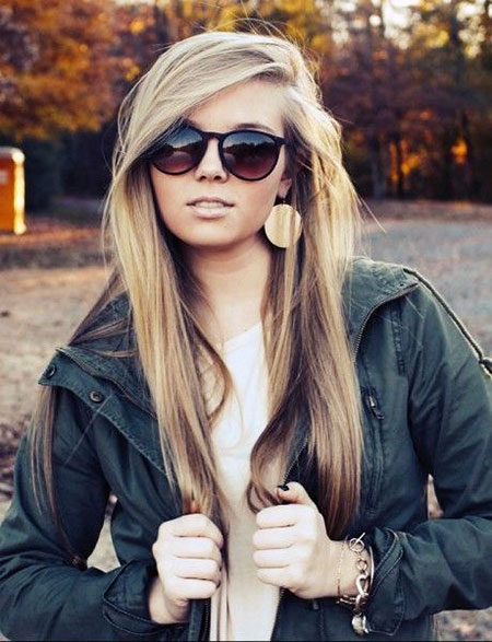 Thin Long Side Part Deep Blonde
