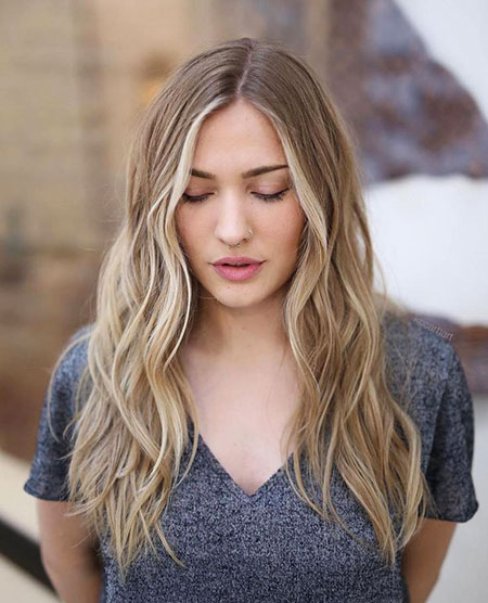 Thin, Long, Blonde, Waves, Trendy, Parted, Part, One, Beach, Bangs