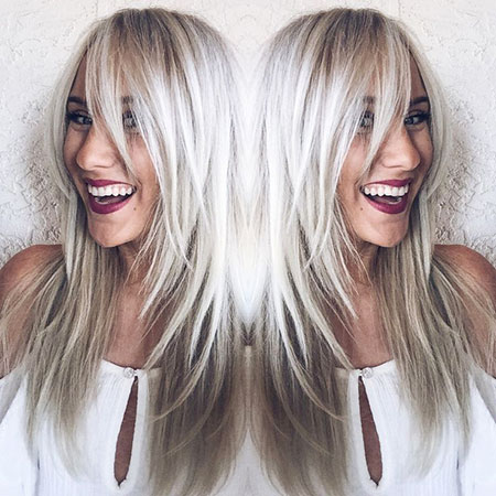 Blonde Silver Icy Long Colour Bardot Bangs Balayage