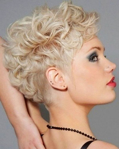 Short Hairstyles, Curly, Women, Wig, Simple, Pixie Cut