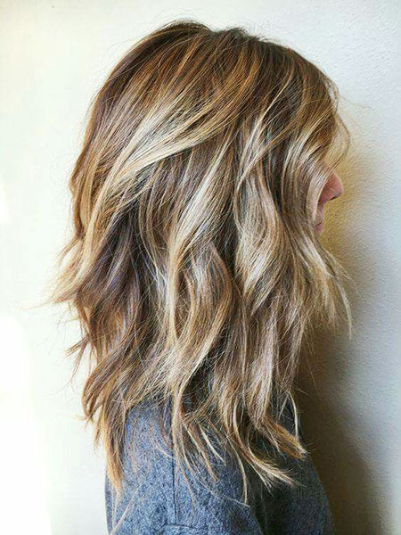 Balayage, Blonde Bob Hairstyles, Medium, Layered, Choppy