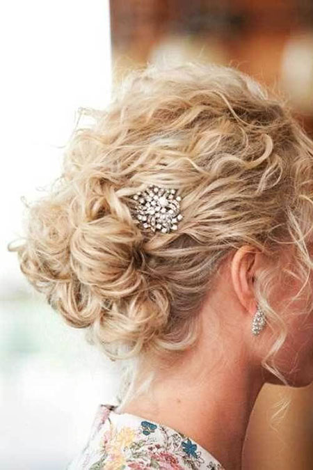 Wedding, Updo, Curly, Short, Naturally, Cute, Blonde