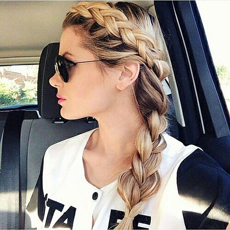 Braid, Side, Braided, Trenza, Summer, Ombre, Long, Braids