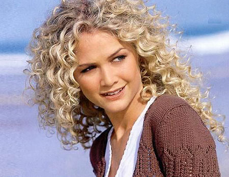 Curly Perm Long Curls Blonde White Spiral Naturally