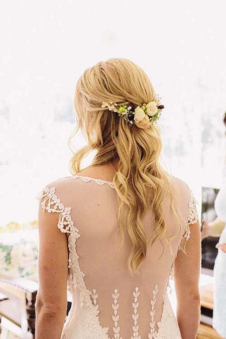 Wedding, Bridal, Simple, Flowers, Flower, Down, Crown