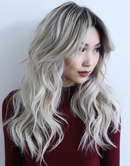 Long Blonde Twist Silver Shag Modern Layers Layered Heavy Grey