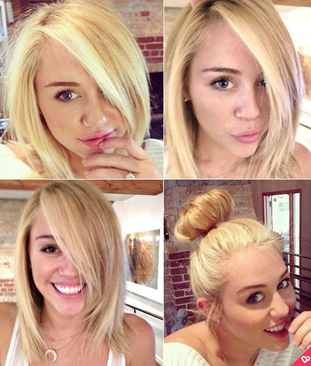 Short, Miley, Blonde, Shoulder, One, Natural, Length