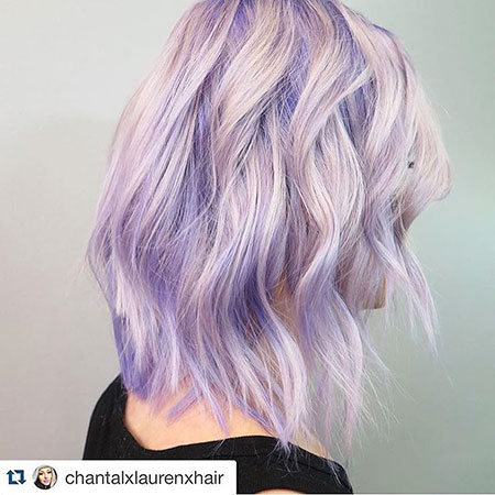 Purple, Lavender, Tang, Short Hairstyles, Pastel, Medium, Light
