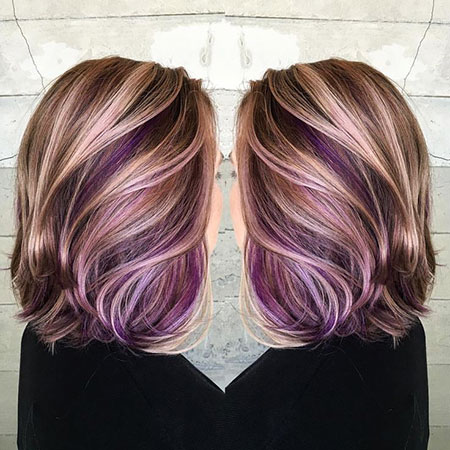 Purple, Blonde Hairstyles, Balayage, Women, Tang, People, Modern, Length