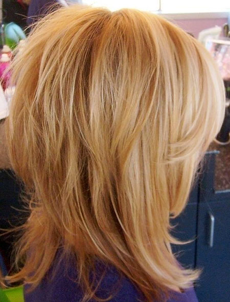 Shag, Medium, Highlights, Fine, Blonde Hairstyles, Wavy, Waves