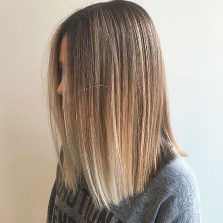 Balayage, Straight, Medium, Ombre, Length, Highlights, Blonde
