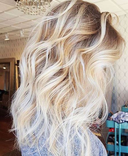Blonde, Balayage, Platinum, Highlights, Ends, Dark, Colored, 2017