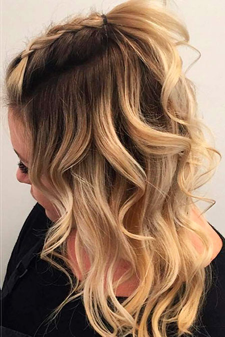 Ombre, Blonde, Trendy, Some, Modern, Medium, Length, Curls