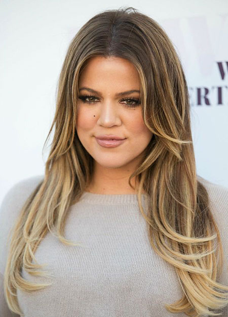 Khloe, Blonde, Kardashian, Highlights, Wavy, Ombre