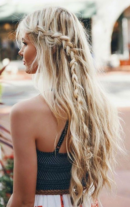 Braid, Waterfall, Long, Trending, Summer, Side, Blonde