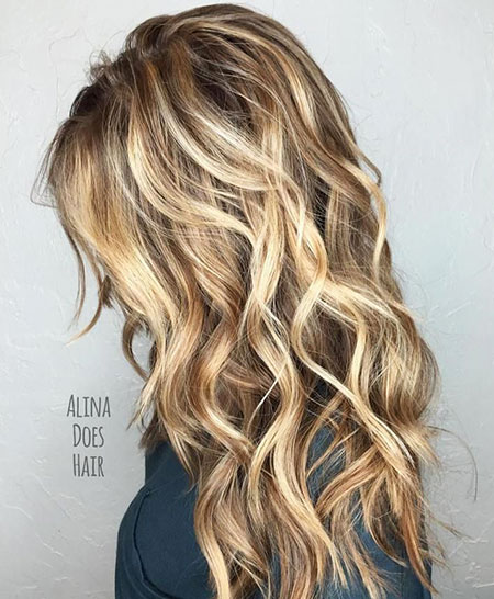 Blonde Balayage without Waves Texture Summer Sandy