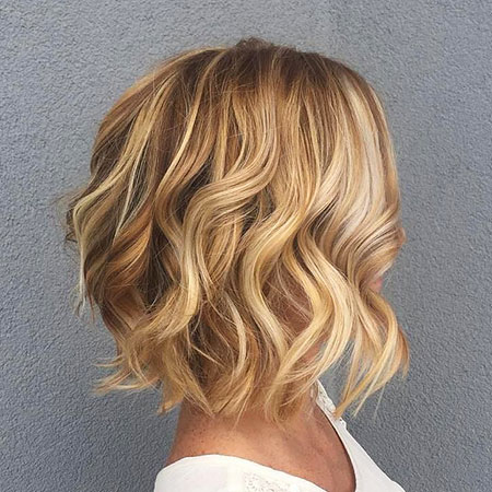 Blonde Hairstyles, Blonde Bob Hairstyles, Wavy, Highlights, Balayage, 2017, View