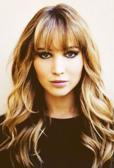 Lawrence Jennifer Bangs Taylor Swift Trendy Long Layers