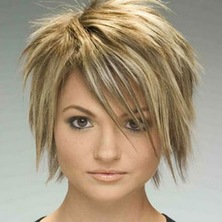 Short Hairstyles, Layered, Round, Rose, Messy, Face, Choppy