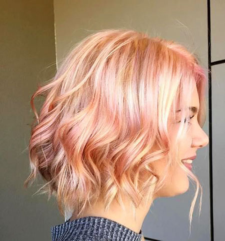 Pink, Gold, Short Hairstyles, Rose, Layered