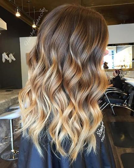 Balayage, Blonde, Ombre, Brown, Spiral, Some, Loose, Long, Light
