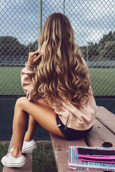 Long, Girls, Brown, Balayage