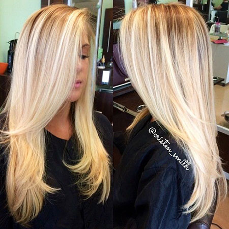 Blonde Balayage Long Layers Home Highlights