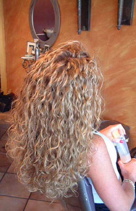 Perm Curly Spiral Perms Long Curls Blonde After