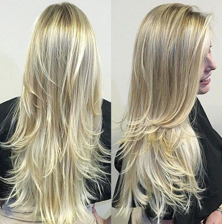 Blonde Straight Long Layered Balayage Trends Sleek