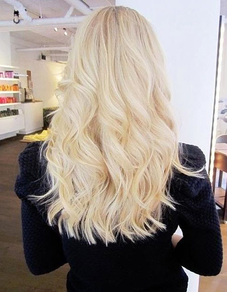 Blonde Blunt Wavy Long Light Highlights Curls Platinum