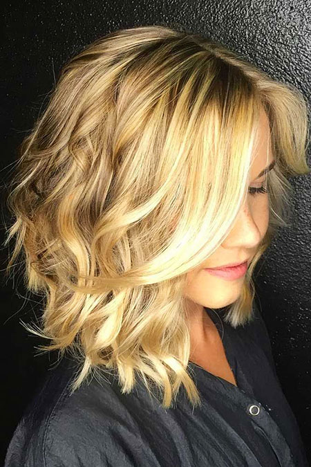 Blonde Hairstyles, Highlights, Blonde Bob Hairstyles, Balayage, 2017, Wavy