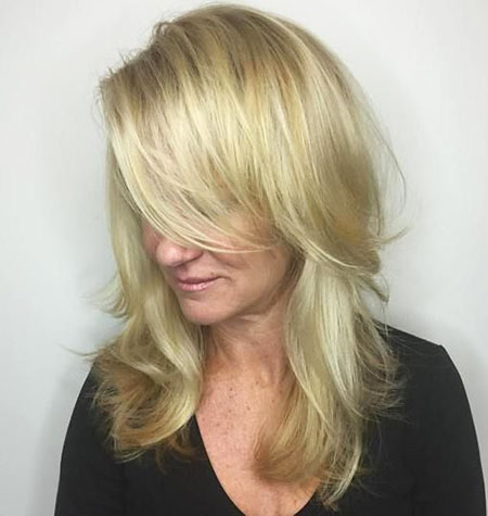Blonde, Layered, Highlights, Balayage, Women, Waves, Soft, Side, Sexy, Over
