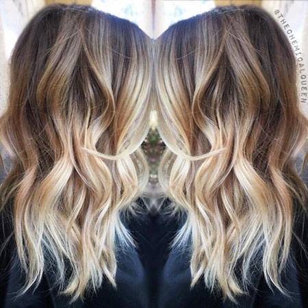 Balayage, Ombre, Blonde, Part, Medium, Length, Below, 2017