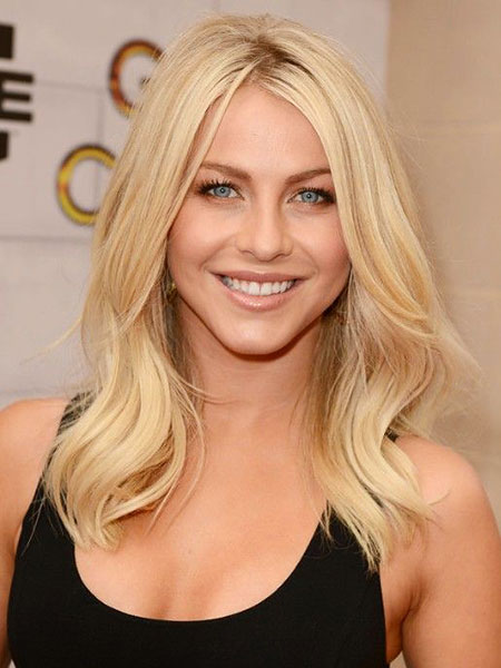 Julianne, Hough, Medium, Blonde, Wavy, Sides, Round, Length, Layers