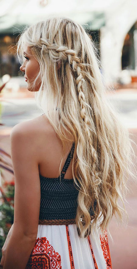 Braid, Waterfall, Long, Braided, Up, Trenza, Simple