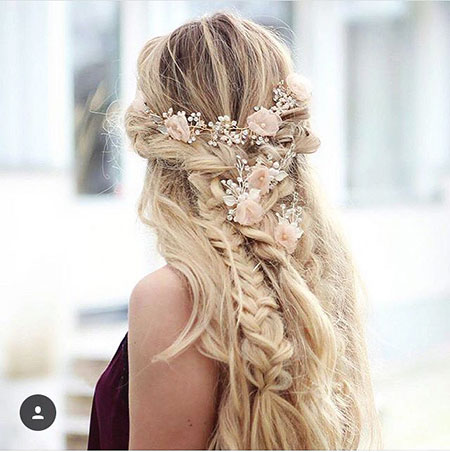 Wedding, Long, Braided, Women, One, Messy, Flowers, Easy