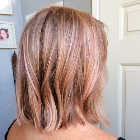 Gold, Rose, Pink, Sides, Pretty, Highlights, Blonde Hairstyles, Bangs