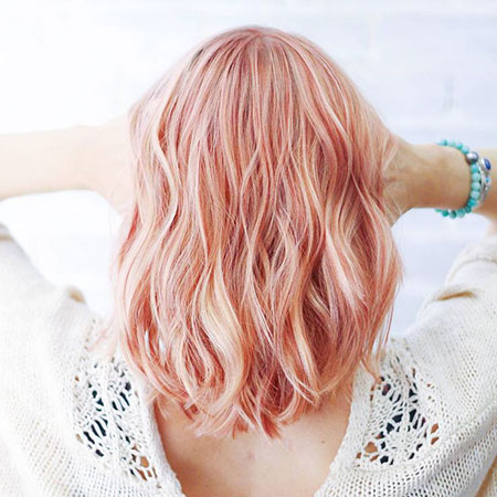 Gold, Rose, Pink, Short Hairstyles, Round, Over, Faces, Face, Colours