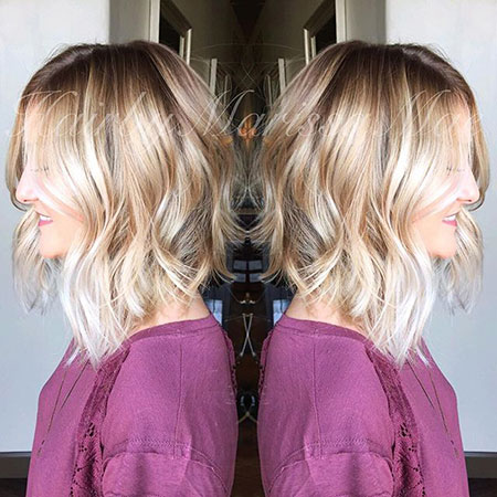 Bob, Blonde, Modern, Medium, Balayage, Yellow, Women, One, Line, Length