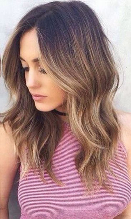 Balayage, Ombre, Womens, Medium, Light, Length, Dark