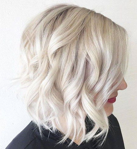 Blonde, Platinum, Wavy, Line, Bob, Balayage, Women, Stacked, Long