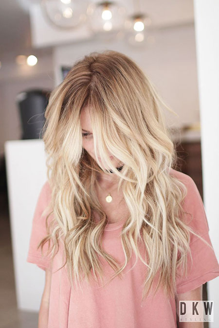 Blonde, Balayage, Long, Highlights