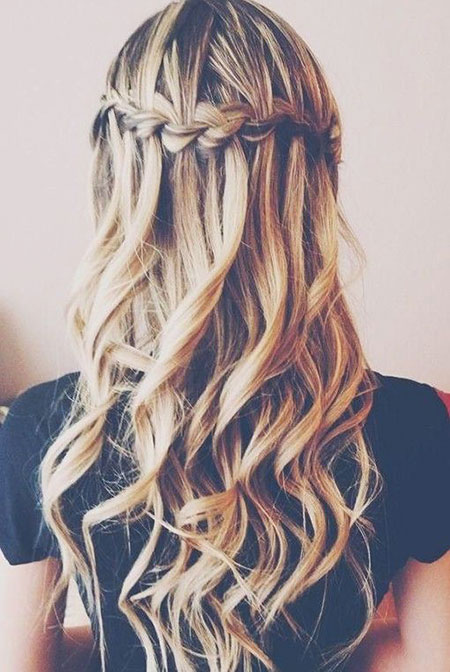 Waterfall Braid Curls Wedding Wavy Volume Trenza
