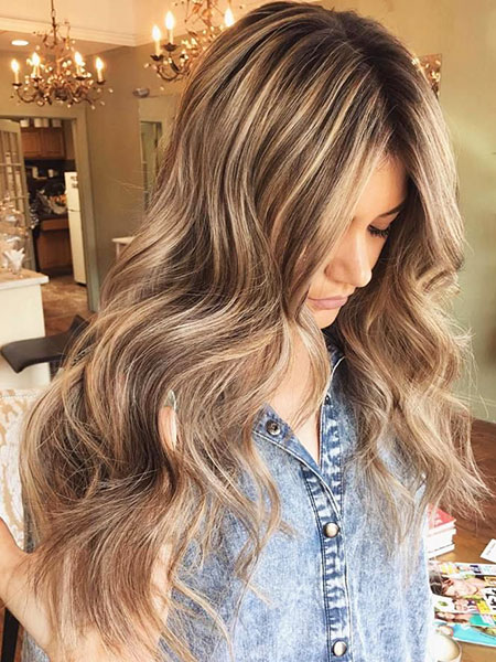 Brown Highlights Light Blonde Long Natural
