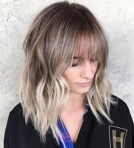 Blonde, Balayage, Bob, Ash, Women, Part, Medium, Frisyrer, Bangs