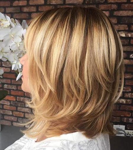 Length, Medium, Layered, Blonde, Shoulder, Highlights