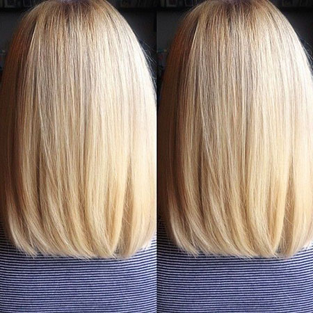 Long, Bob, View, Blonde, Back, Straight, Medium, Length