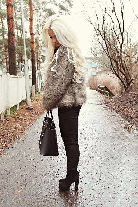 Fur, Street, Blonde, Winter, Vest, Platinum, İce, Faux