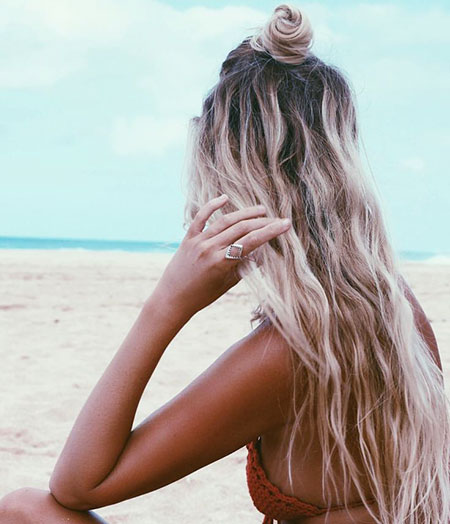 Beach Waves Summer Wild Natural Messy Long Highlights Easy